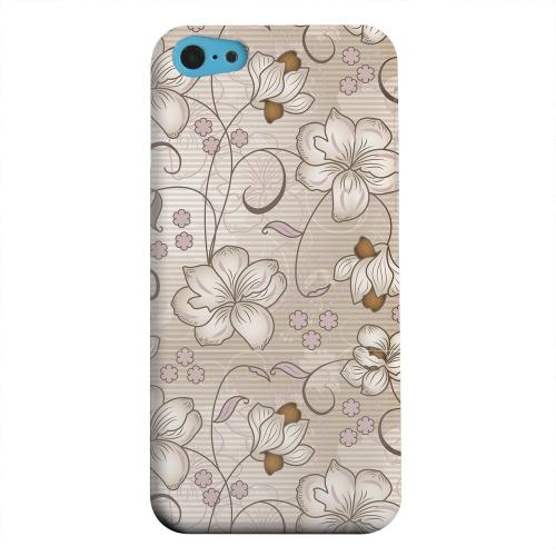 Geeks Designer Line (GDL) Apple iPhone 5C Matte Hard Back Cover - Floral Stripes Linen