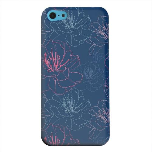 Geeks Designer Line (GDL) Apple iPhone 5C Matte Hard Back Cover - Flower Outline on Blue