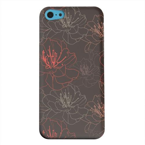 Geeks Designer Line (GDL) Apple iPhone 5C Matte Hard Back Cover - Flower Outline on Brown