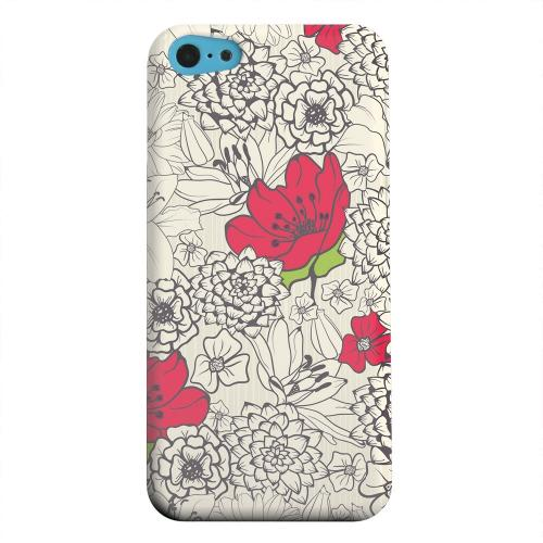 Geeks Designer Line (GDL) Apple iPhone 5C Matte Hard Back Cover - Flower Outline Red Accent