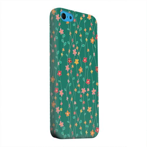 Geeks Designer Line (GDL) Apple iPhone 5C Matte Hard Back Cover - Flowers & Vines on Green