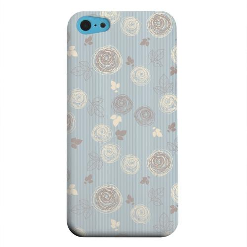 Geeks Designer Line (GDL) Apple iPhone 5C Matte Hard Back Cover - Leaves Scribble Blue/ Brown