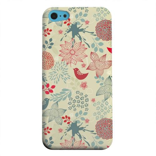 Geeks Designer Line (GDL) Apple iPhone 5C Matte Hard Back Cover - Lovebird Floral Splatter