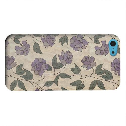 Geeks Designer Line (GDL) Apple iPhone 5C Matte Hard Back Cover - Purple Flowers & Vines Wallpaper