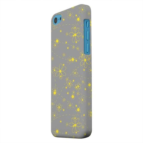Geeks Designer Line (GDL) Apple iPhone 5C Matte Hard Back Cover - Yellow Daisies on Gray