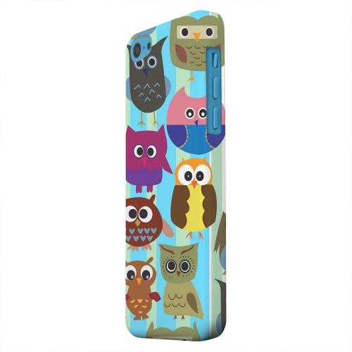 Geeks Designer Line (GDL) Apple iPhone 5C Matte Hard Back Cover - Colorful Owls on Blue/Green Stripes