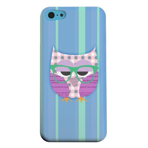 Geeks Designer Line (GDL) Apple iPhone 5C Matte Hard Back Cover - Hipster Owl on Blue/Green Stripes