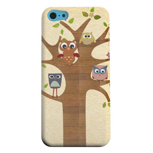 Geeks Designer Line (GDL) Apple iPhone 5C Matte Hard Back Cover - Owls on Brown Tree