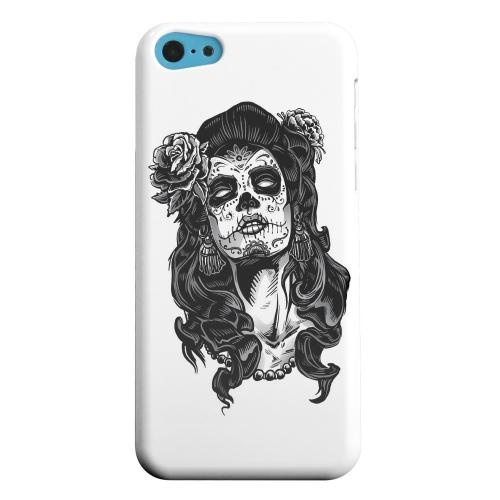 Geeks Designer Line (GDL) Apple iPhone 5C Matte Hard Back Cover - Day of the Dead Girl on White