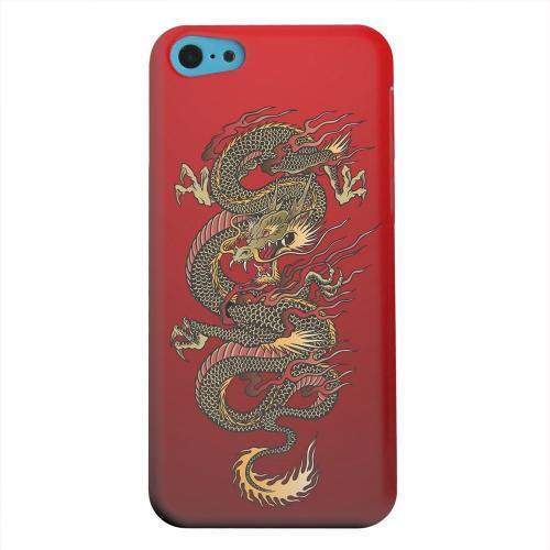 Geeks Designer Line (GDL) Apple iPhone 5C Matte Hard Back Cover - Dragon on Red Gradient