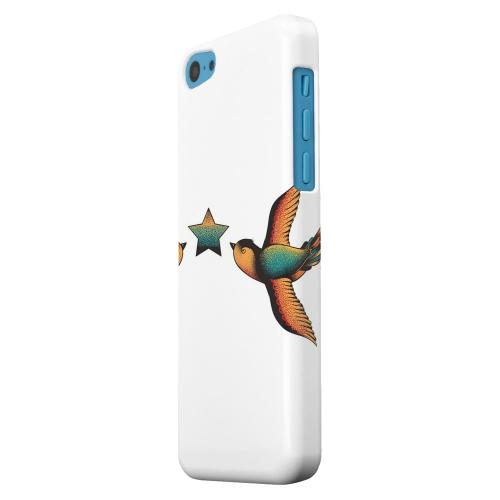 Geeks Designer Line (GDL) Apple iPhone 5C Matte Hard Back Cover - Dual Swallow Star on White