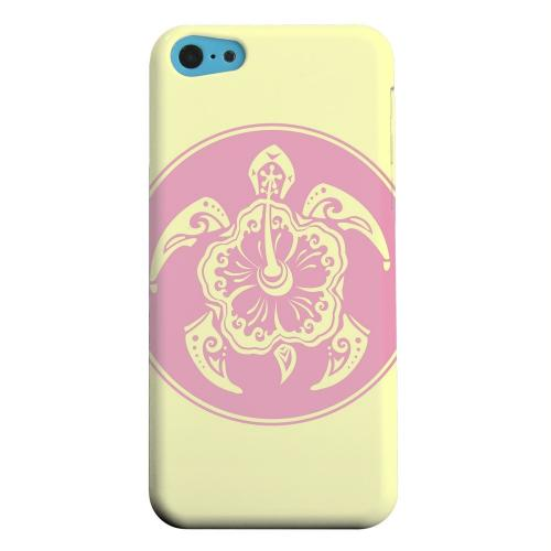 Geeks Designer Line (GDL) Apple iPhone 5C Matte Hard Back Cover - Pink Island Turtle Solo on Yellow