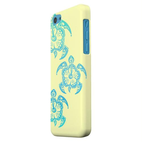 Geeks Designer Line (GDL) Apple iPhone 5C Matte Hard Back Cover - Blue Island Turtle Trail on yellow
