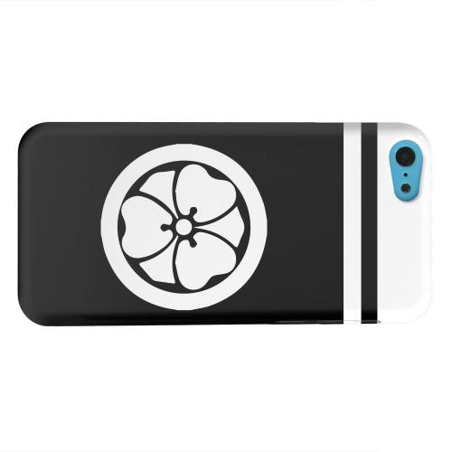 Geeks Designer Line (GDL) Apple iPhone 5C Matte Hard Back Cover - White Katabami Kamon w/ Stripe v.2