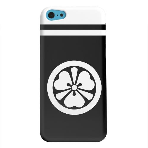 Geeks Designer Line (GDL) Apple iPhone 5C Matte Hard Back Cover - White Katabami Kamon w/ Stripe v.3