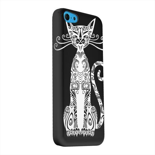 Geeks Designer Line (GDL) Apple iPhone 5C Matte Hard Back Cover - Kitty Nouveau on Black