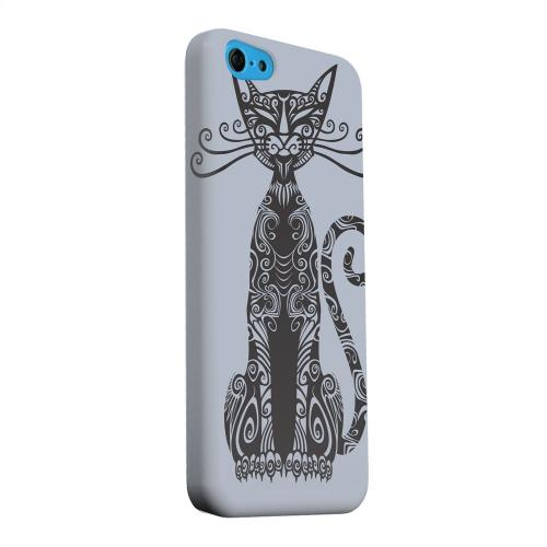 Geeks Designer Line (GDL) Apple iPhone 5C Matte Hard Back Cover - Kitty Nouveau on Blue/ Gray