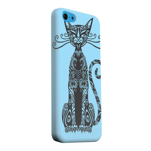 Geeks Designer Line (GDL) Apple iPhone 5C Matte Hard Back Cover - Kitty Nouveau on Light Blue