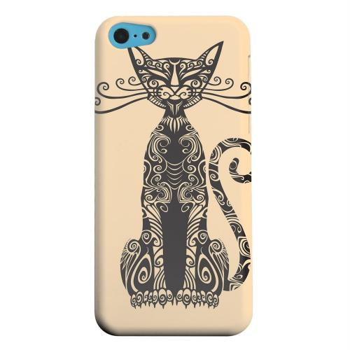 Geeks Designer Line (GDL) Apple iPhone 5C Matte Hard Back Cover - Kitty Nouveau on Peach