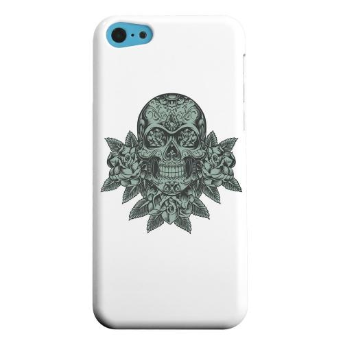 Geeks Designer Line (GDL) Apple iPhone 5C Matte Hard Back Cover - Skull Roses Aqua