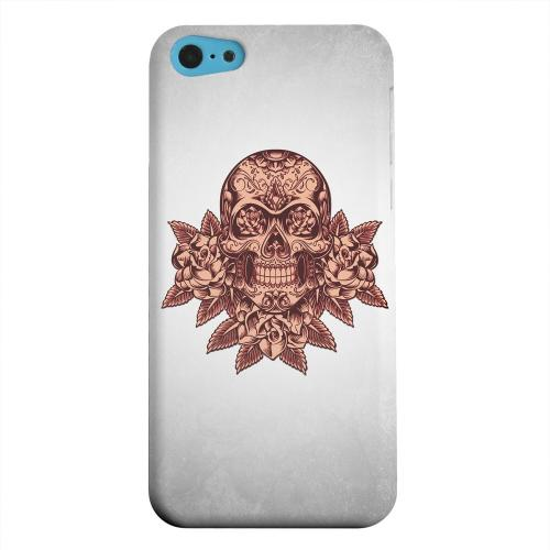 Geeks Designer Line (GDL) Apple iPhone 5C Matte Hard Back Cover - Skull Roses Red Grunge