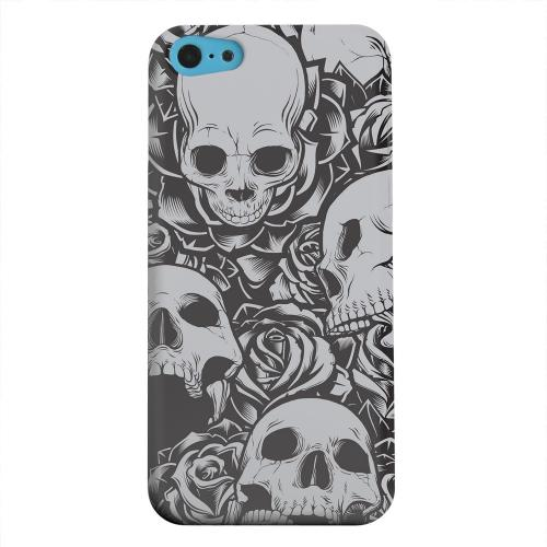 Geeks Designer Line (GDL) Apple iPhone 5C Matte Hard Back Cover - Skulls Rose Gray