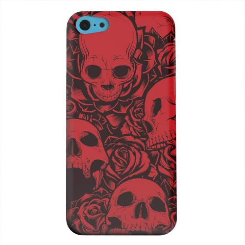 Geeks Designer Line (GDL) Apple iPhone 5C Matte Hard Back Cover - Skulls Rose Red/ Black