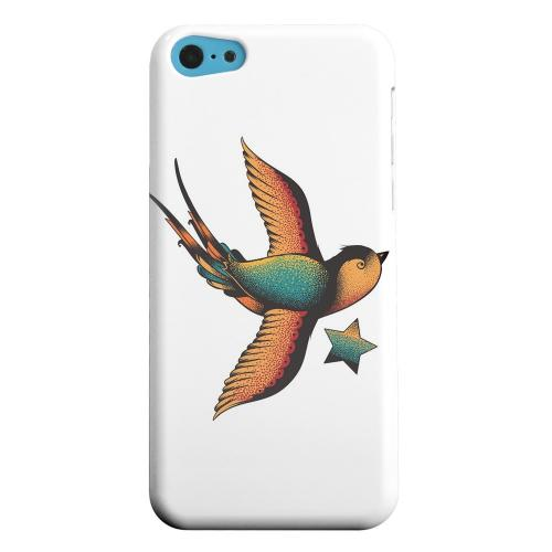 Geeks Designer Line (GDL) Apple iPhone 5C Matte Hard Back Cover - Swallow Star on White