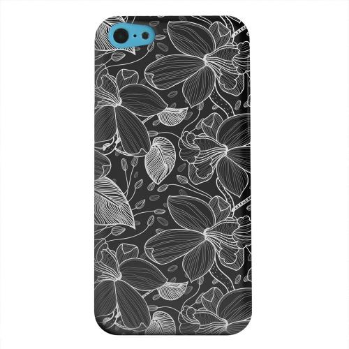 Geeks Designer Line (GDL) Apple iPhone 5C Matte Hard Back Cover - White on Black Orchid Lines