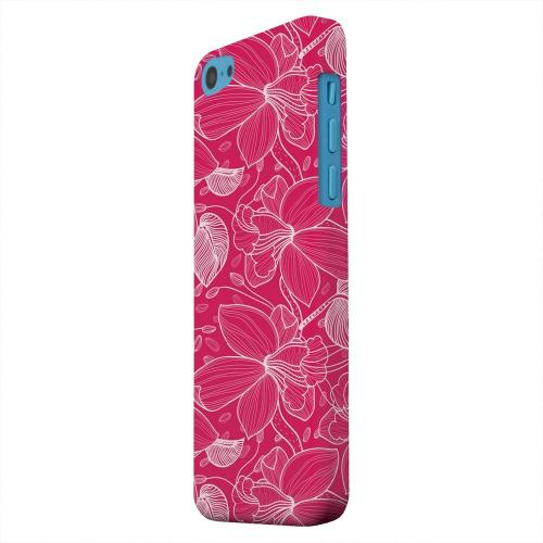 Geeks Designer Line (GDL) Apple iPhone 5C Matte Hard Back Cover - White on Pink Orchid Lines