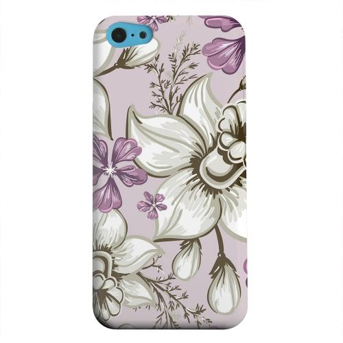 Geeks Designer Line (GDL) Apple iPhone 5C Matte Hard Back Cover - White and Violet Orchids