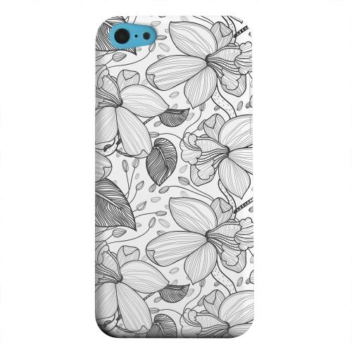 Geeks Designer Line (GDL) Apple iPhone 5C Matte Hard Back Cover - Black on White Orchid Lines
