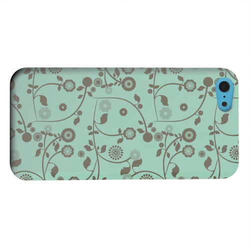 Geeks Designer Line (GDL) Apple iPhone 5C Matte Hard Back Cover - Floral 2 Grayed Jade