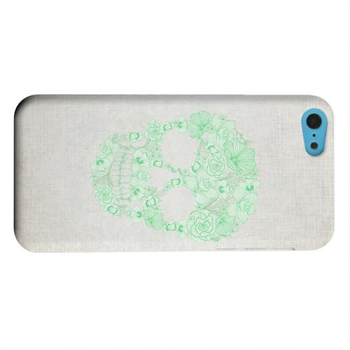 Geeks Designer Line (GDL) Apple iPhone 5C Matte Hard Back Cover - Floral Green Skull on Canvas