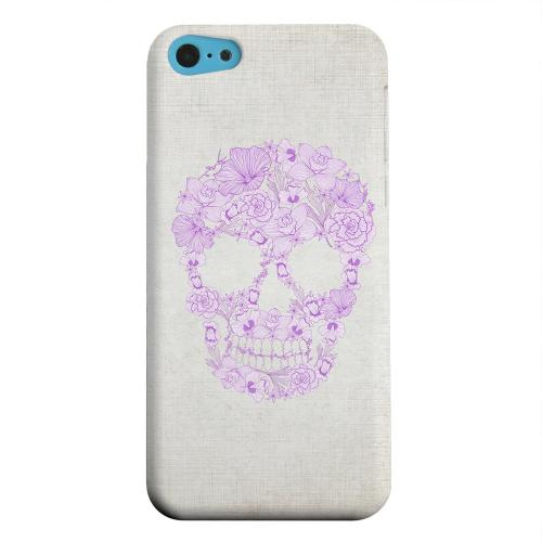 Geeks Designer Line (GDL) Apple iPhone 5C Matte Hard Back Cover - Floral Violet Skull on Canvas