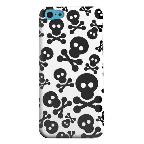 Geeks Designer Line (GDL) Apple iPhone 5C Matte Hard Back Cover - Skull Face Invasion Black on White
