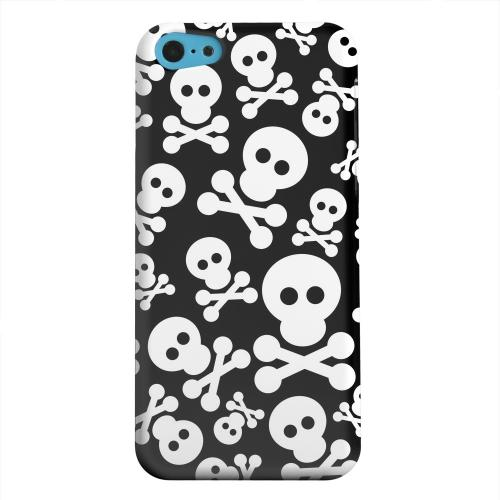 Geeks Designer Line (GDL) Apple iPhone 5C Matte Hard Back Cover - Skull Face Invasion White on Black