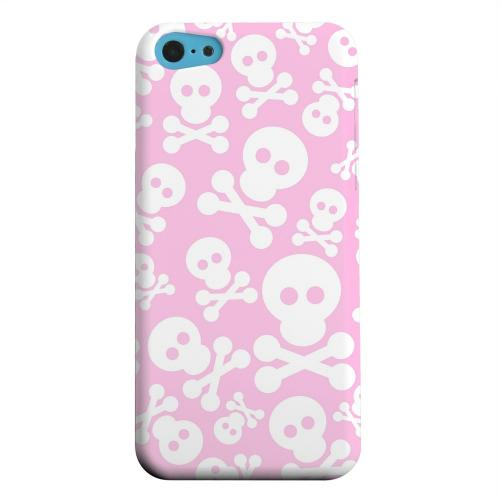 Geeks Designer Line (GDL) Apple iPhone 5C Matte Hard Back Cover - Skull Face Invasion White on Pink