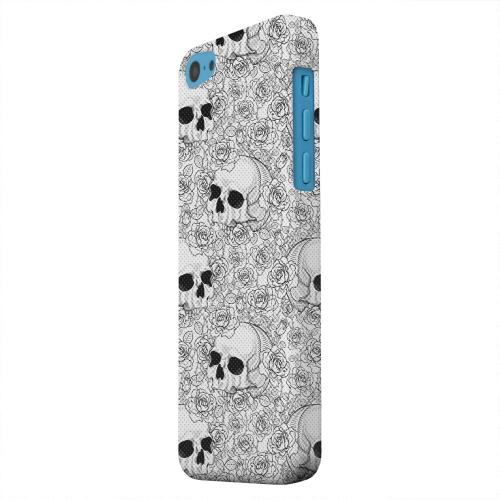 Geeks Designer Line (GDL) Apple iPhone 5C Matte Hard Back Cover - Thorn Skull Black White Halftone