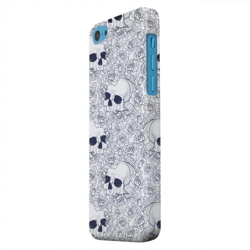 Geeks Designer Line (GDL) Apple iPhone 5C Matte Hard Back Cover - Thorn Skull Blue Halftone