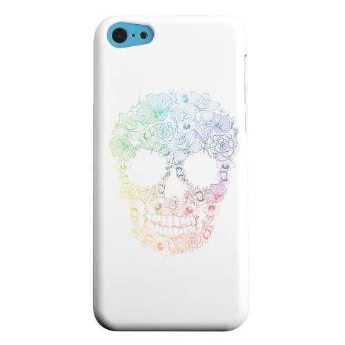 Geeks Designer Line (GDL) Apple iPhone 5C Matte Hard Back Cover - Floral Rainbow Skull on White