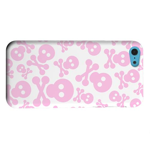 Geeks Designer Line (GDL) Apple iPhone 5C Matte Hard Back Cover - Skull Face Invasion Pink on White