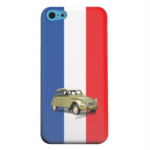 Geeks Designer Line (GDL) Apple iPhone 5C Matte Hard Back Cover - Citroen 2CV on Blue/ White/ Red