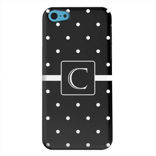 Geeks Designer Line (GDL) Apple iPhone 5C Matte Hard Back Cover - Monogram C on Classic Mini Polka Dots