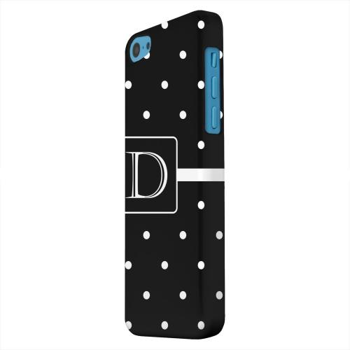 Geeks Designer Line (GDL) Apple iPhone 5C Matte Hard Back Cover - Monogram D on Classic Mini Polka Dots