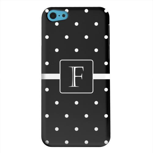Geeks Designer Line (GDL) Apple iPhone 5C Matte Hard Back Cover - Monogram F on Classic Mini Polka Dots