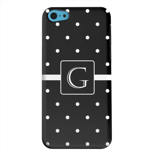 Geeks Designer Line (GDL) Apple iPhone 5C Matte Hard Back Cover - Monogram G on Classic Mini Polka Dots