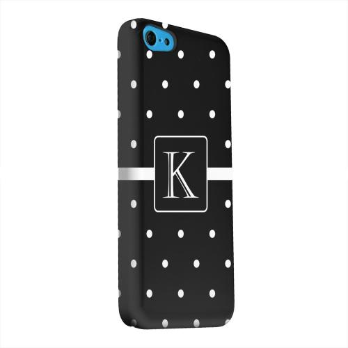 Geeks Designer Line (GDL) Apple iPhone 5C Matte Hard Back Cover - Monogram K on Classic Mini Polka Dots