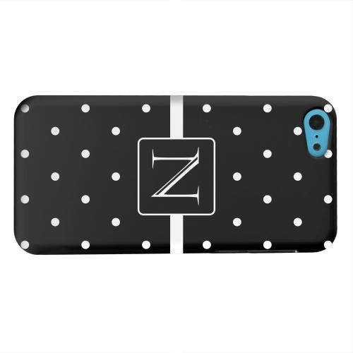 Geeks Designer Line (GDL) Apple iPhone 5C Matte Hard Back Cover - Monogram N on Classic Mini Polka Dots