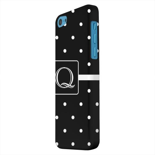 Geeks Designer Line (GDL) Apple iPhone 5C Matte Hard Back Cover - Monogram Q on Classic Mini Polka Dots